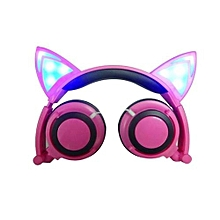 Creative Foldable Cat Ear Stereo Headphones 3.5 Jack With LED Incandescent Lights For PC Mobile Phone -Pink