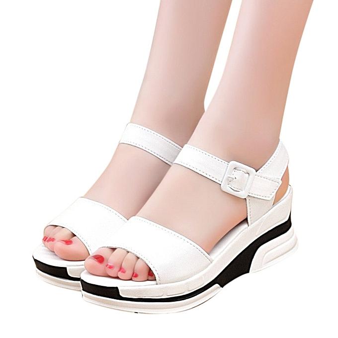 9e3d18410219 Women s Summer Sandals Shoes Peep-toe Low Shoes Roman Sandals Ladies Flip  Flops - White