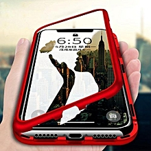Magnetic Cases For IPhone XR 9H Tempered Glass Phone Case Metallic Frame Transparent Case For IPhone XR 6.1 Inch Phone Case 236777 c-1 (Color:Main Picture)