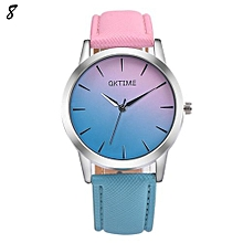 Candy Color Leather Quartz Wristwatch For Students #8 - Pink & Blue