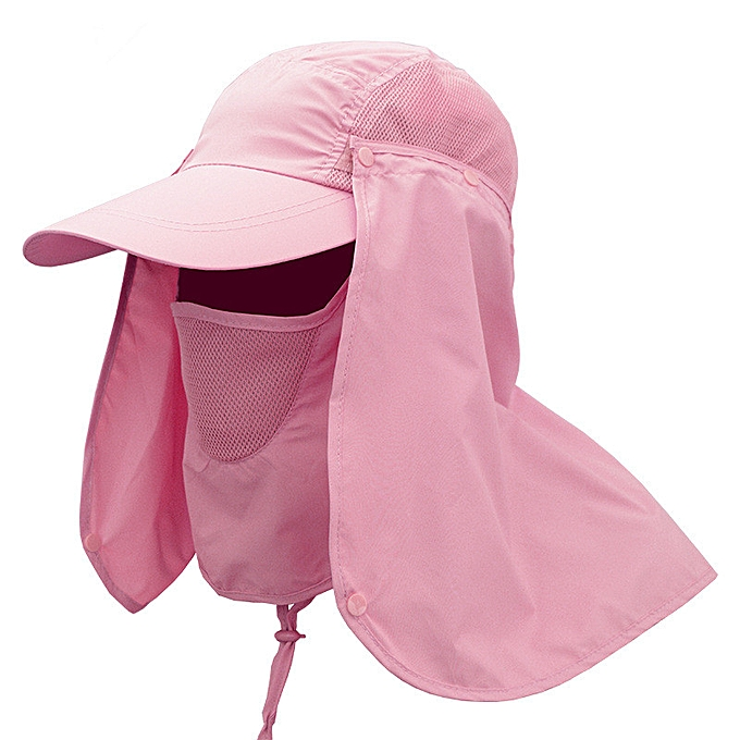 5b9eaa922 Outdoor Sports Running Caps Hiking Camping Visor Hat UV Protection Face  Neck Cover Fishing Sun Protcet Cap Uni Removable Mask(Pink)