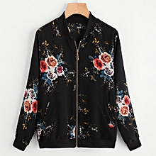 douajso Womens Retro Floral Printing Zipper Up Bomber Jacket Casual Coat Outwear