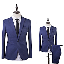 Men Slim Fit Business Leisure One Button Formal Two-Piece Suit for Groom Wedding-Lake Blue
