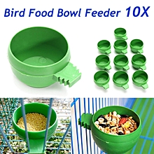 10Pcs Hamster Parrot Bird Cage Hanging Water Food Feeder Cup Bowl Green 5.6cm