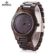 ZS - W086B Wood Men Watch Analog Quartz Movement Date Display Wristwatch-EBONY WOOD