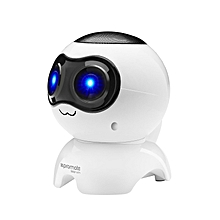 MARVIN-White Bluetooth Robot Speaker with Micro SD Card Slot, Audio Aux Port, FM Radio and Built-In Microphone for Smartphones