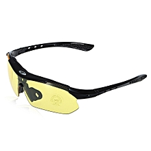 0089 Cycling Glasses Explosionproof Eyeglasses With Hanging Lanyard / Storage Box - Yellow