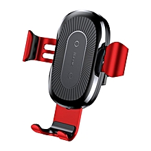 Baseus 2 in 1 Qi Wireless Car Charger Gravity Auto Lock Air Vent Phone Holder Stand for iPhone 8 X Red