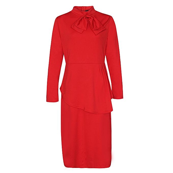53e08a05f0c Fashion Autumn Plus Size Bowknot Long Sleeve Women Dress D1053 Red ...