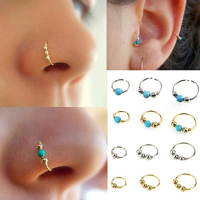 Buy Fashion 1xstainless Steel Nose Ring Turquoise Nostril Hoop Nose