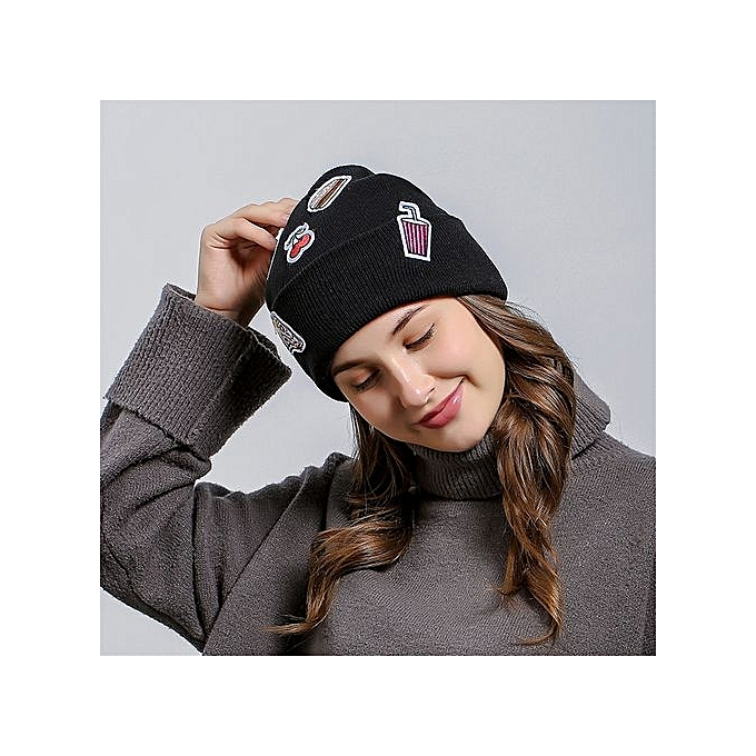 Eissely Ice Cream Patch Men WomenBaggy Wool Knit Ski Beanie Hat ... 9afd5d7a66a
