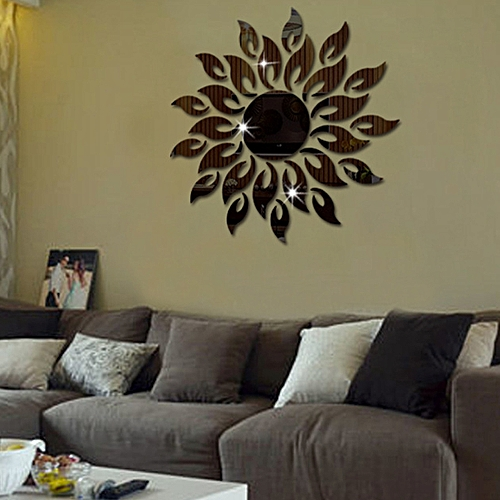 generic sunflower mirror wall sticker bedroom living room decoration