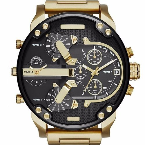 AI Men's Fashion Luxury Watch Stainless Steel Sport Analog Quartz Mens Wristwatches - Gold