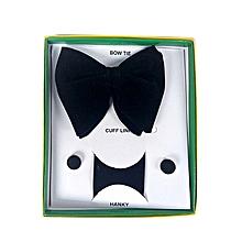 Men's Butterfly Bow Tie, Cufflinks & Pocket Square