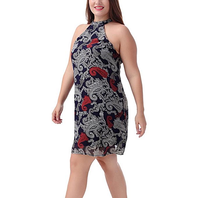 f6996e785be ... Women Plus Size Shift Dress Chiffon Sleeveless Vintage Paisley Print  Halter Draped Zipper Back Dress Vestidos ...