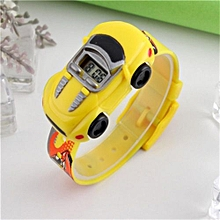 Car Children Watches Fashion Casual Cartoon Digital Sport Watch For Boy Girl Student Kids Wristwatches(Yellow)