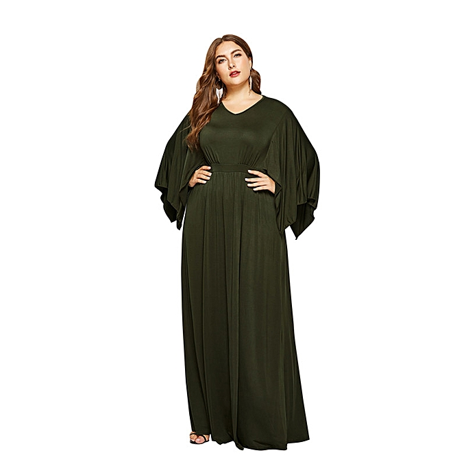2d2df35aa56 Women s Bat Sleeve Large-size V-neck Solid-color Dress Sexy Evening Dress