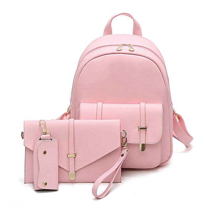 1dc9753c0145a9 Korean PU college style fashionable ladies backpack 3 PCS PU Leather Women  Backpacks Students Schoolbags #