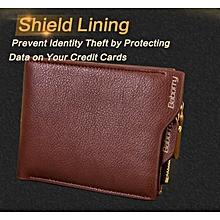 QB02 Baborry PU Leather Zipper Men Wallets Card holder Coin Money Purse Fashion - Coffee