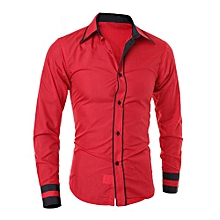 bluerdream-Men Shirt Fashion Solid Color Male Casual Long Sleeve Business Shirt RD/L- Red