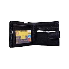 Designer N. Gold 100% Genuine Leather Wallets for Men - Black