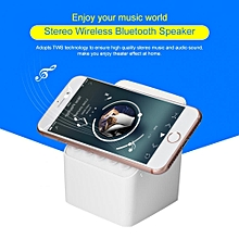 XJ0812 Wireless Blutooth Speaker 3-in-1 Portable Bluetooth Speaker with Magnetic Phone Holder White