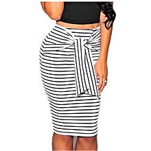 Women's High Waist Bodycon Stripe Pencil  Skirt-White