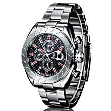 IK Colouring Men Sport Steel Bracelet & Case Automatic Watch With Carbon Fiber Pattern Dial(Red)