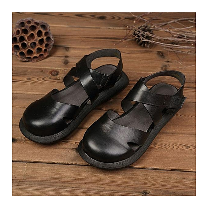 a2ca729c1 SOCOFY Hollow Out Pure Color Handmade Leather Retro Fashion Women Flat  Sandals-EU