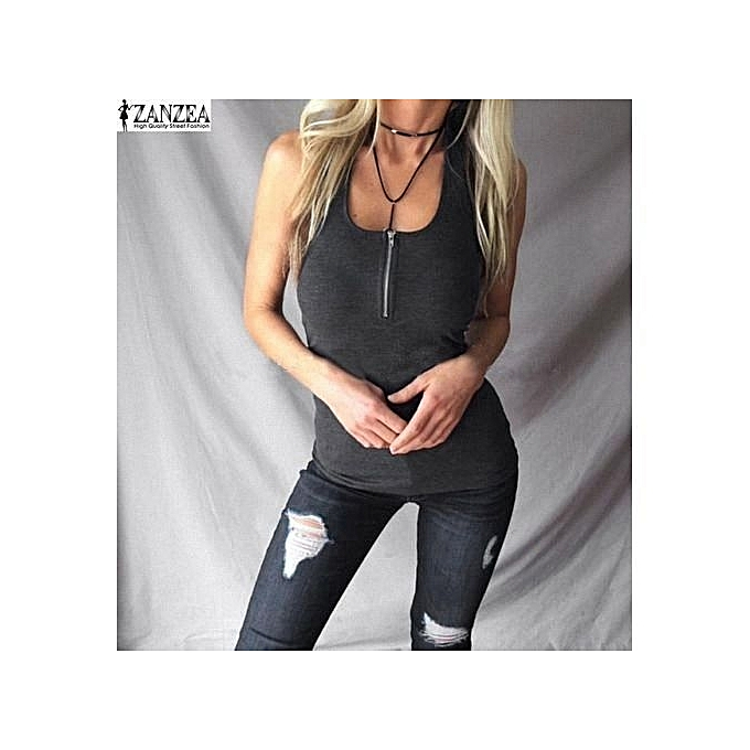 13e8de6fc181f0 ZANZEA Women Deep V-Neck Tank Tops Vest Slim Basic Tee Shirts Cotton  Sleeveless Tops
