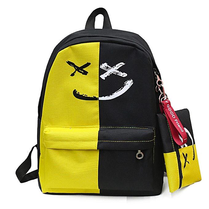 59b2af76362f meibaol store 2Pcs Women Girls Smile Shoulder Bookbags School Travel  Backpack+Small Bag