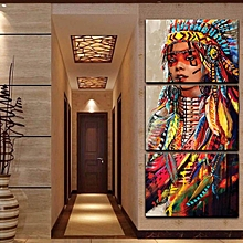 3Pcs Indian Woman Unframed Canvas Oil Painting Print Picture Home Wall Art Decor 50x75cm*3