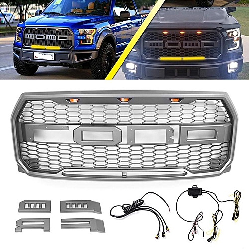 For Ford F150 2015 2018 Abs Front Bumper Grille Grill Amber White Drl Light