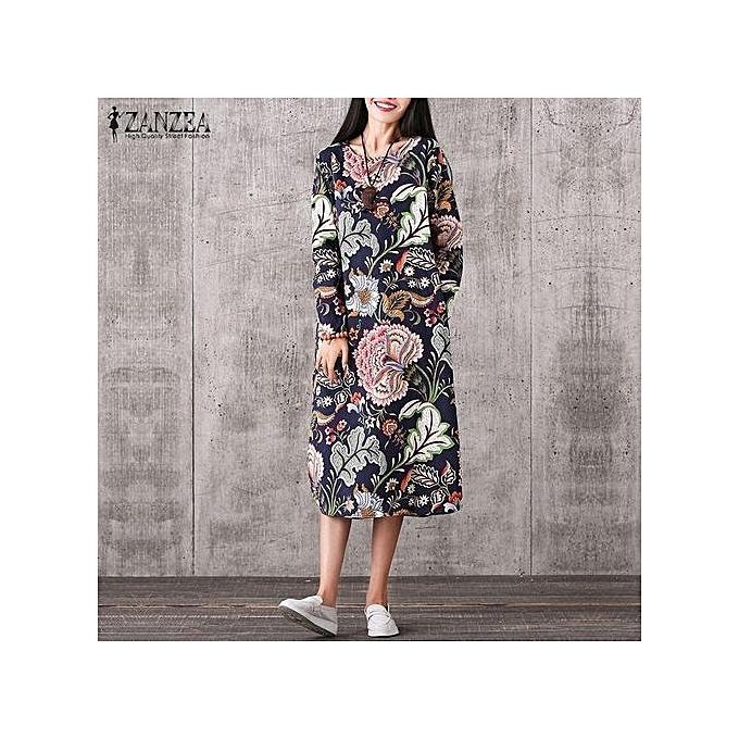 5d15a25132e ZANZEA Vintage Women Pullover Loose Dress Casual Long Sleeve O Neck Dresses  Robe Plus Size Cotton ...