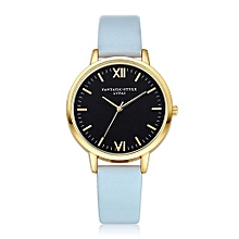 Lady  Leather Wrist Watch LVPAI Women Fashion Leather Band Analog Quartz Round Wrist Watch Watches Light Blue-Light Blue