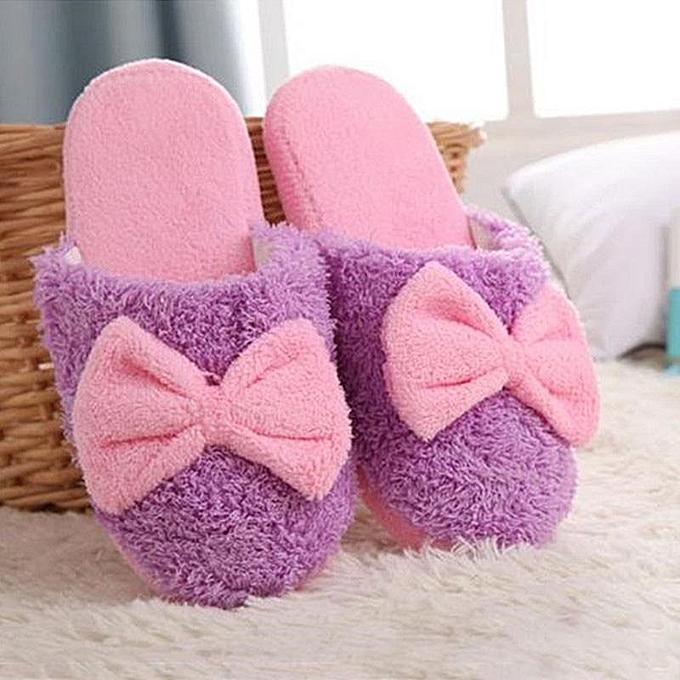 New Cute Velvet Women Lady Home Anti Slip Bowknot Slippes Indoor Shoes Sofe Warm PURPLE