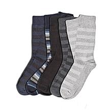 10-Pack Men's socks - Blue Striped/Navy Blue/Grey/Light Grey/Black