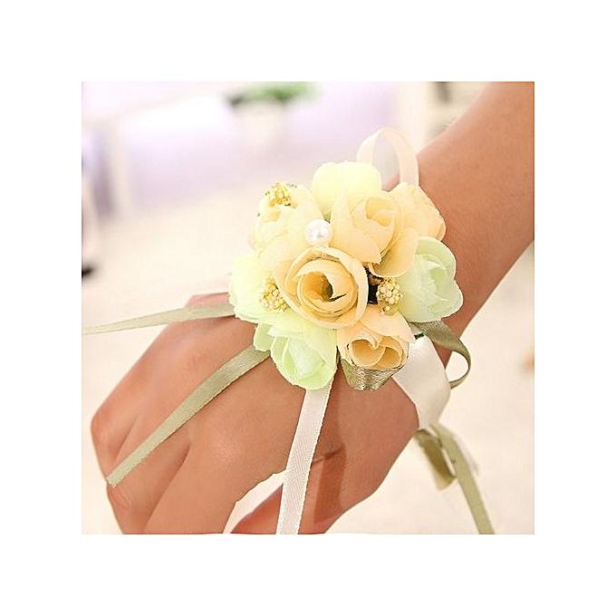 Bridesmaid Bride Wedding Supplies Wrist Corsage Party Prom Ribbon Hand Flower Decor Color Champagne