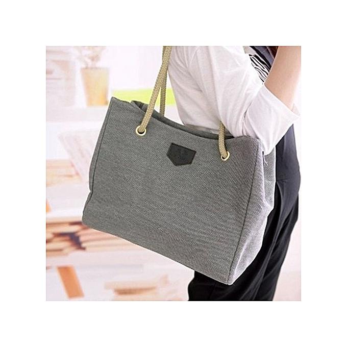 Women s Fashion Hobo Canvas Shoulder Bag Messenger Purse Satchel Tote  Handbag-Grey 0edf9282286bc
