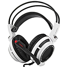 Fashion G941 7.1 Virtual Surround Sound USB Gaming Headset With Mic Volume Control Vibration Function(WHITE AND BLACK)