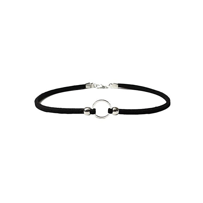9f3186cb64a New Fashion Leather Circle Vintage Choker Necklace Classic Charm Women  Creative Goldplated Silver Geometric Pendant Necklaces