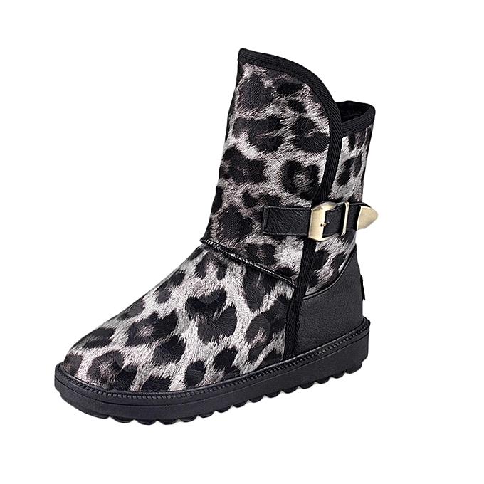 dd16af83227 Fashion Shoes Women Winter Round-Toe Leopard Print Flat Shoe Keep Warm  Buckle-Strap