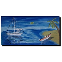Seascape wall painting - 60 by 30cms - multicoloured
