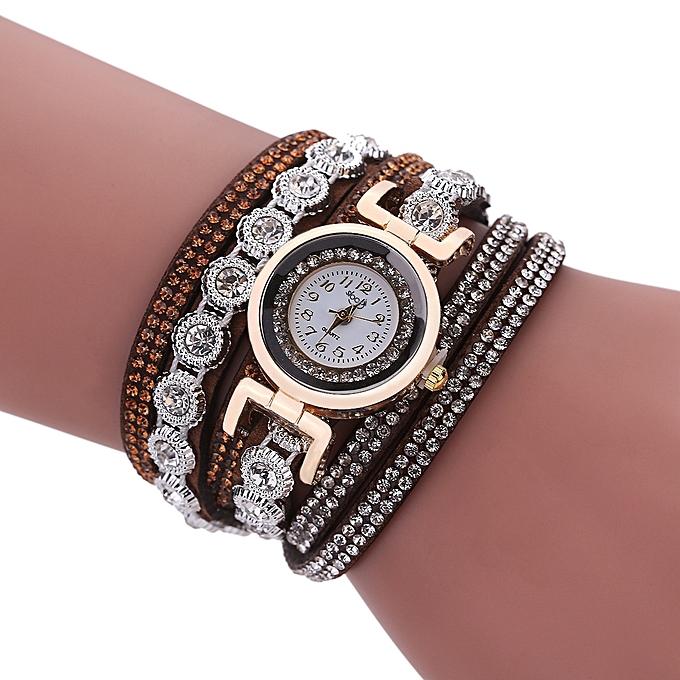 867c989c7ccbd Luxury Rhinestone Crystal Leather Strap Bracelet Watch Women Quartz Watch  -Brown