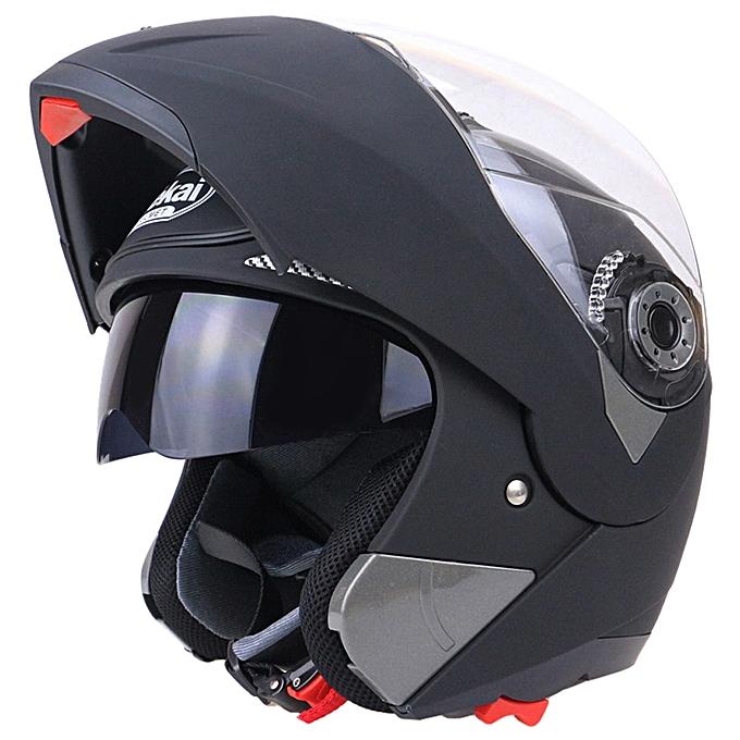 7cc05169 ... Full Face Street Bike Helmet Dual Visor With Transparent Shield XXL -  Matte Black ...