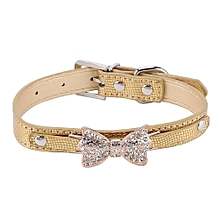 Adjustable PU Leather Pet Collar With Crystal Bowknot Dog Accessories Gold S
