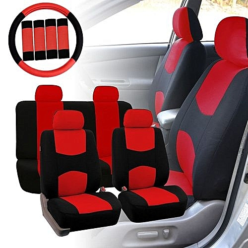 Car Seat Covers Red Black Full Set For Auto W Steering Wheel Belt Pad