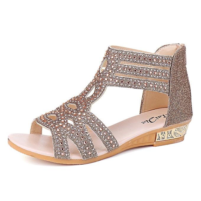 5a65803e73 Fashion Women's Diamante Flat Low Heel Wedge Sandals Shoes @ Best ...