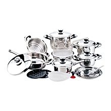 21 PIECE STAINLESS COOKWARE