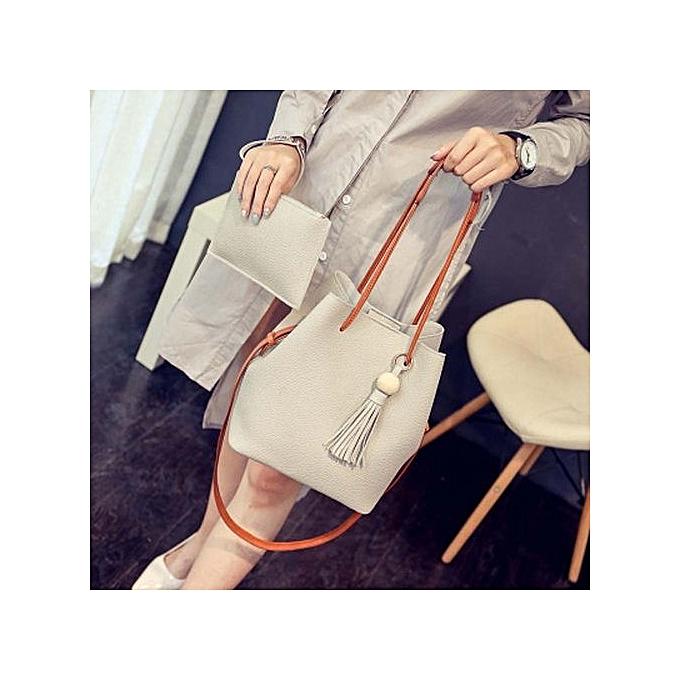 5d3a052e4a Fashion Korean Latest Tassel Ladies Bucket Cross Body Bag - Beige ...